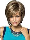 kvinnor lady kort syntetiska peruker pixie cut peruk kort rakt hår brunt med blonda slingor peruk