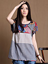Tee-shirt Aux femmes Glands/Fendu Manches Courtes Col Arrondi Coton
