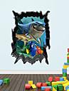 Decalcomanies 3d stickers muraux murales, style la mer de requins dans le PVC du monde stickers muraux