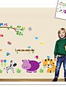 apa elefant lejon zoo vägg klistermärke för barnrum zooyoo9046 dekorativa flyttbar pvc väggdekal