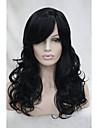"""nouveau noir de jais 22 """"top bangs synthetiques partie du cote long de la peau des femmes perruque frisee"""