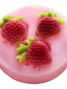bakeware silikon jordgubbar bakformar för fondant godis chokladkaka (slumpmässiga färger)