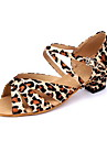 Chaussures de danse(Leopard) -Non Personnalisables-Talon Bas-Satin-Latine