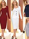 Robes ( Coton/Polyester ) Bodycon/Travail Carre a Manches longues pour Femme