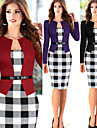 Robes ( Coton/Polyester ) Travail Rond a Manches longues pour Femme