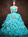 Formal Evening Dress Ball Gown Sweetheart Chapel Train Satin / Tulle / Polyester with Ruffles / Criss Cross
