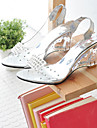 נעלי נשים - סנדלים - דמוי עור - נעלים עם פתח קדמי / רצועה אחורית - כסוף / זהב - שמלה - עקב וודג\'