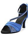 Customizable Women\'s Dance Shoes Latin Satin Customized Heel Blue/Purple