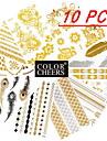 10 st tatueringsklistermärken i olika mönster: långa armband/fjädrar/blommor, 15x9 cm (blandade mönster)