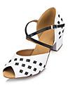 Chaussures de danse(Blanc) -Non Personnalisables-Talon Bottier-Flocage-Latine Salsa