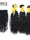 3 buntar malaysiska lockigt jungfru hår med stängning obearbetat människohår väva och gratis / mellersta delen spetstopp stängning