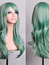 Mint encaracolado cabelo verde volume de ar 70 centimetros de comprimento de alta temperatura peruca seda
