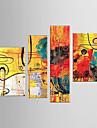 Dipinta a mano AnimaliModern Quattro Pannelli Tela Hang-Dipinto ad olio For Decorazioni per la casa