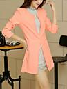 Women\'s Casual/Work Medium Long Sleeve Long Blazer (Cotton/Cotton Blends)