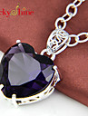 Sweet Heart Amethyst Gemstone Wedding Party Daily Pendant Necklaces