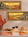 Peisaj Pânză Înrămată / Set Înrămat Wall Art,PVC Bej Fără Rogojină cu Frame Wall Art
