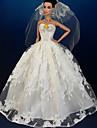 Bröllop Klänningar För Barbie Doll Vit Klänningar