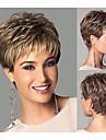 perruques synthetiques de style chic et courtes droites perruques brun clair de cheveux avec une frange perruques naturelles plein pour