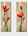 oljemålning dekoration abstrakt blommor handen målade med sträckt inramat - set om 2
