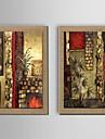 HANDMÅLAD LandskapKlassisk Två paneler Hang målad oljemålning For Hem-dekoration