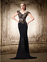 Formal Evening Dress - Black Plus Sizes / Petite Trumpet/Mermaid V-neck Floor-length Chiffon / Lace