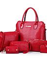 Femme Polyurethane Formel / Decontracte / Bureau & Travail / Shopping Sac a Bandouliere / Cabas Blanc / Bleu / Jaune / Rouge / Noir
