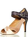Non Customizable Women\'s Dance Shoes Salsa Flocking Stiletto Heel Black/Purple/Gold