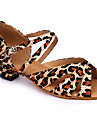 Non Customizable Women\'s/Kids\' Dance Shoes Latin Satin Chunky Heel Leopard