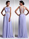 Formal Evening Dress - Beautiful Back Plus Size / Petite Sheath / Column Scoop Floor-length Chiffon with Beading / Side Draping