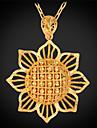 U7 plaque millesime creuse fleur du soleil collier pendentif en or 18 carats charme cadeau de bijoux unisexes de haute qualite