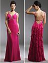 TS Couture Prom / Military Ball / Formal Evening Dress - Fuchsia Plus Sizes / Petite Sheath/Column Straps Floor-length Chiffon