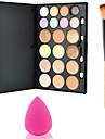 15Colors Contour Face Powder Mirror Makeup Palette+1PCS Powder Brush+Sponge Puff