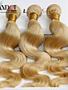 """4st mycket 14 """"-30"""" blekmedel blonda mongoliska oskuld hår förkroppsligar vinkar färg 613 remy människohår väva buntar dubbla dras inslag"""