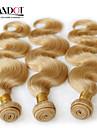 """3 st lot 12 """"-30"""" platina blekmedel blonda 613 jungfru hår mongoliska kroppen våg remy människohår väva buntar maskin wefts"""