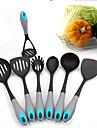 7 stycken nylon matlagning verktyg set skimmer / slitsade turner / pasta gaffel / sked / soppslev / fast Turner / potatis masher