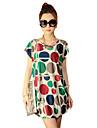 De las mujeres Recto Vestido Casual / Playa / Bonito A Lunares Sobre la rodilla Escote Redondo Algodon / Rayon / Raso
