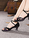 Chaussures de danse (Noir/Bleu) - Non personnalisable - Talon Large - Suede - Danse latine