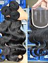 """10 """"-26"""" peruanska jungfru hår förkroppsligar vinkar människohår väft med spets stängning färg naturligt svart baby hår för svarta kvinnor"""