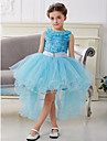 Flower Girl Dress - Mode de bal Traine asymetrique Sans manches Coton/Tulle