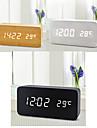 vitt ljus usb dual-screen rektangulär trä ledde klocka w / väckarklocka / temperatur / röstgivare