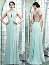 Formal Evening Dress - Sky Blue Plus Sizes / Petite Sheath/Column High Neck Floor-length Chiffon