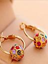 Cercei Rotunzi  Bohemia Stil La modă Perle Zirconiu Cubic Ștras Placat Auriu Aliaj Circle Shape Culoare ecran Bijuterii Pentru 2pcs