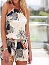 Women\'s Print White Jumpsuits , Vintage Sleeveless