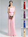Bridesmaid Dress Floor Length Chiffon Over Elastic Woven Satin Sheath Column Strapless Dress