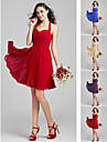Homecoming Knee-length Chiffon Bridesmaid Dress - Ruby/Grape/Royal Blue/Champagne/Burgundy Plus Sizes A-line/Princess Halter