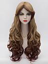 70cm de long cheveux ondules couches avec bang cote Laves ; bruns gradient harajuku synthetique lolita femmes resistant a la chaleur