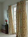 Two Panels Embroidery Panel Bedroom Curtains Drapes Beige