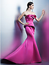 TS Couture Formal Evening Dress - Elegant Trumpet / Mermaid Strapless Sweep / Brush Train Satin with Flower(s)