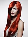 nouvelle cosplay longue rouge fonce mixte droite fabrication humaine perruque de cheveux