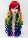 couleurs melangees harajuku partie de la mode a long crepus de cheveux boucles bang cote gradient femmes sexy lolita perruque synthetique